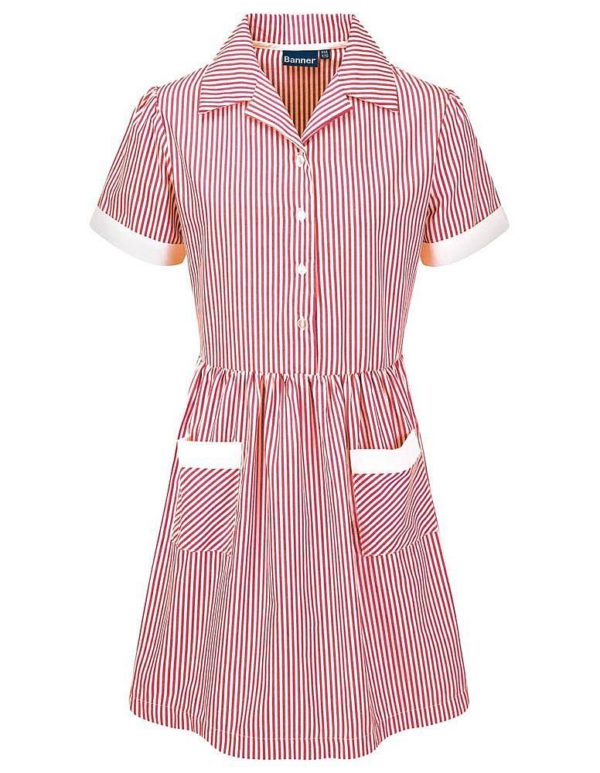 Webshop Striped Dress Belt Red