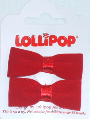 WEBSHOP Flocked Bow Hairclips Red