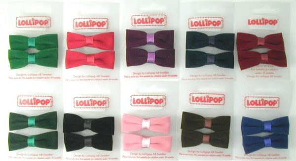 WEBSHOP Flocked Bow Hairclips Pnk