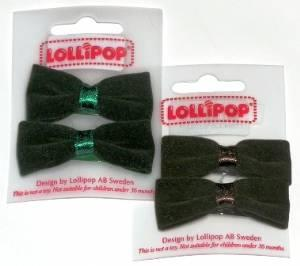 WEBSHOP Flocked Bow Hairclips Emerald